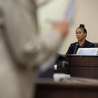 Lt. Caroline Huynh of the New Mexico State Police Investigations Unit, testifies before a jury during the Green trial. Huynh was brought to the stand and questioned about the evidence that was destroyed during the first sexual abuse case Monday morning at the13th Judicial District Courthouse in Grants.