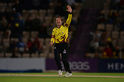 Roelof van der Merwe of Somerset successfully appeals for the wicket of Kyle Abbott of Hampshire  during the NatWest T20 Blast South Group match between Hampshire County Cricket Club and Somerset County Cricket Club at the Ageas Bowl, Southampton, United Kingdom on 18 August 2017. Photo by Dave Vokes.
