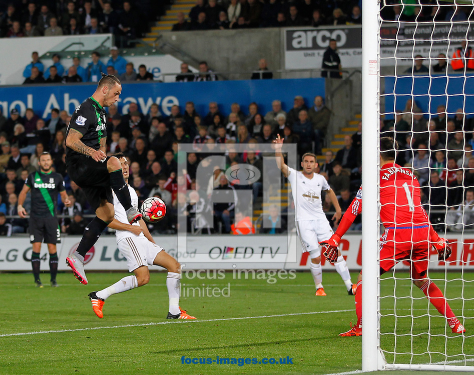 Marko Arnautovic scores for Stoke City but its disallowed during the Barclays Premier League match at the Liberty Stadium, Swansea<br /> Picture by Mike Griffiths/Focus Images Ltd +44 7766 223933<br /> 19/10/2015