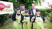 Stephen Hammond, Conservative candidate for Wimbledon and the former parliamentary under-secretary of State for Transport is on the general election campaign trail in Wimbledon today (Monday 15th May 2017). <br /> <br /> Visiting the Merton Mencap Caf&eacute;, open every Monday at Holy Trinity Church in The Broadway it offers a range of healthy home-made dishes &amp; is run by adults with a learning disability, supported by Merton Mencap staff and volunteers. <br /> <br /> Hammond who has an 11,408 majority (24.1%) met some of the workers who have learning disabilities including <br /> <br /> L to R: <br /> <br /> back row:<br /> Richard Dorris ; Stephen Hammond <br /> <br /> front row:<br /> <br /> George Cary ; Neil Weddell ; Anna Caldicott<br /> <br /> <br /> <br /> Photograph by Elliott Franks <br /> Image licensed to Elliott Franks Photography Services