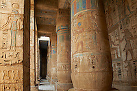 Egypte, Haute Egypte, vallée du Nil, environs de Louxor, nécropole thébaine classée Patrimoine Mondial de l'UNESCO, Thèbes Ouest, Medinet Habou, temple de Ramses III // Egypt, Nile Valley, Luxor, Thebes, West bank of the River Nile, Medinet Habou Temple