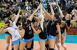 Players of Calcit celebrate after winning during match between OK Nova KBM Branik and OK Calcit Volleyball in Finals of Slovenian Women Volleyball Cup 2013/14 on December 27, 2013 in Hoce, Slovenia.  Calcit Volleyball won 3-1 and became Slovenian Cup Champion 2013/14. Photo by Vid Ponikvar / Sportida