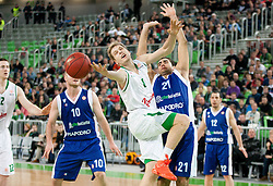 Jaka Blazic of Union Olimpija vs Pietro Aradori of Mapooro Cantu during basketball match between KK Union Olimpija and Mapooro Cantu (ITA) in 6th Round of Regular season of Euroleague 2012/13 on November 15, 2012 in Arena Stozice, Ljubljana, Slovenia. Union Olimpija defeated Mapooro Cantu 81-79. (Photo By Vid Ponikvar / Sportida)