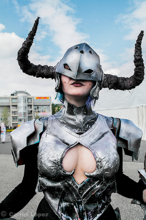 Darkflame shyvana from League of legends.  Cosplayer at Animefest 2015 in the city of Brno, czech republic.