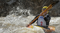 B. J. Browning of St. Charles, Mo. races in the K1 Men's Expert class on the slalom course of the 45th Annual Missouri Whitewater Championships. Browning placed eighth in the class and second in the downriver K1 Men's Plastic (30-49) class. The Missouri Whitewater Championships, held on the St. Francis River at the Millstream Gardens Conservation Area, is the oldest regional whitewater slalom race in the United States. Heavy rain in the days prior to the competition sent water levels on the St. Francis River to some of the highest heights that the race has ever been run. Only expert classes were run on the flood level race course.