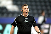 Referee Ben Thaler during the Betfred Super League match between Hull FC and Leeds Rhinos at Kingston Communications Stadium, Hull, United Kingdom on 19 April 2018. Picture by Mick Atkins.