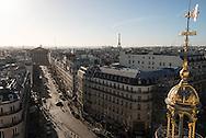 France. Paris. 9th district. elevated view on Paris cityscape and rooftops view from from the terrace  of the Printemps department store  Paris  France  / panorama de paris et les toits vu depuis la terrasse du printemps hausmann, paris