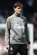 Newcastle United first team coach Mikel Antia, warming up before the Premier League match between Fulham and Newcastle United at Craven Cottage, London, England on 12 May 2019.