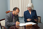 Signing ceremony by Vice Provost of Global Affairs Lorna Jean Edmonds and the President of King Faisal University, Kingdom of Saudi Arabia at Yamada House at Ohio University on November 5, 2013.