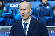 Real Madrid's manager Zinédine Zidane during the Champions League match between Manchester City and Real Madrid at the Etihad Stadium, Manchester, England on 26 April 2016. Photo by Shane Healey.