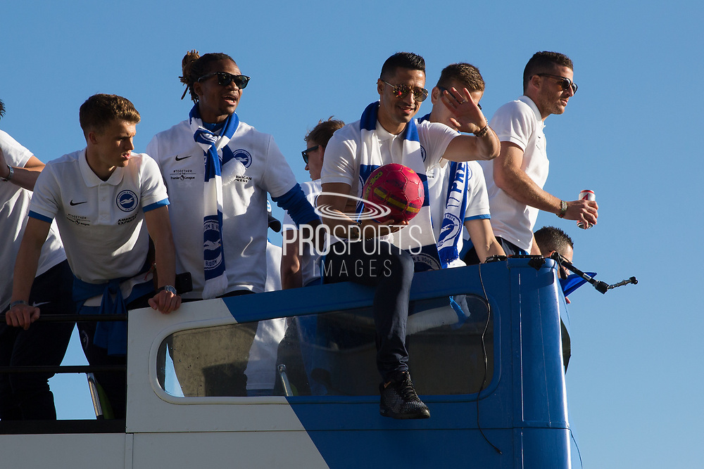 Brighton & Hove Albion central midfielder Beram Kayal on the open top bus during the Brighton & Hove Albion Football Club Promotion Parade at Brighton Seafront, Brighton, East Sussex. United Kingdom on 14 May 2017. Photo by Ellie Hoad.