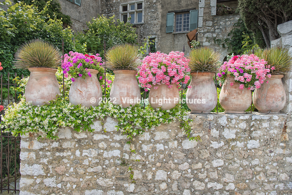 Urns with pink flowers atop a stone wall in St. Paul-de-Vence.