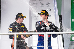 November 17, 2019, SãO Paulo, Brazil: SÃO PAULO, SP - 17.11.2019: GRANDE PRÊMIO DO BRASIL F1 2019 - Max Verstappen (NDL) and Pierre Gasly (FRA) celebrate victory and second place at the Formula 1 2019 Brazilian Grand Prix, held at the Interlagos Circuit in São Paulo, SP. (Credit Image: © Victor EleutéRio/Fotoarena via ZUMA Press)