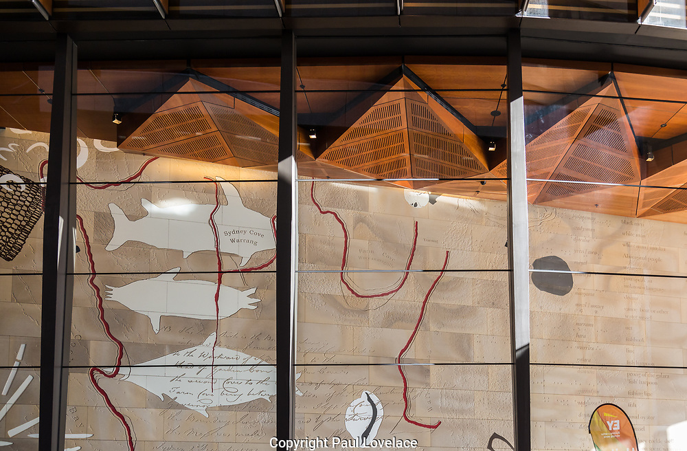 The new EY Centre at 200 George Street. It is one of Australia's most sustainable buldings in Sydney. Beautiful aboriginal artwork on sandstone.