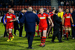 Bristol Rugby Prop Jack O'Connell is congratulated by Chris Booy after Bristol Rugby win 13-28 to take a 15 point lead into the second leg of the Final - Mandatory byline: Rogan Thomson/JMP - 18/05/2016 - RUGBY UNION - Castle Park - Doncaster, England - Doncaster Knights v Bristol Rugby - Greene King IPA Championship Play Off FINAL 1st Leg.