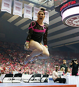 Ari Guerra reacts after her vault as the Tide competes with Florida during the annual Pink Meet Friday, Feb. 15, 2019 in Coleman Coliseum.  [Staff Photo/Gary Cosby Jr.]