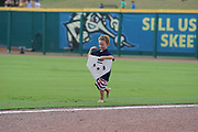 July 19, 2017 Sugarland, Texas: Sugarland Skeeters fan plays steals the base between innings. The Lancaster Barnstormers defeats the Sugarland Skeeters 3-1. (Photo By: Jerome Hicks/ Space City Images)