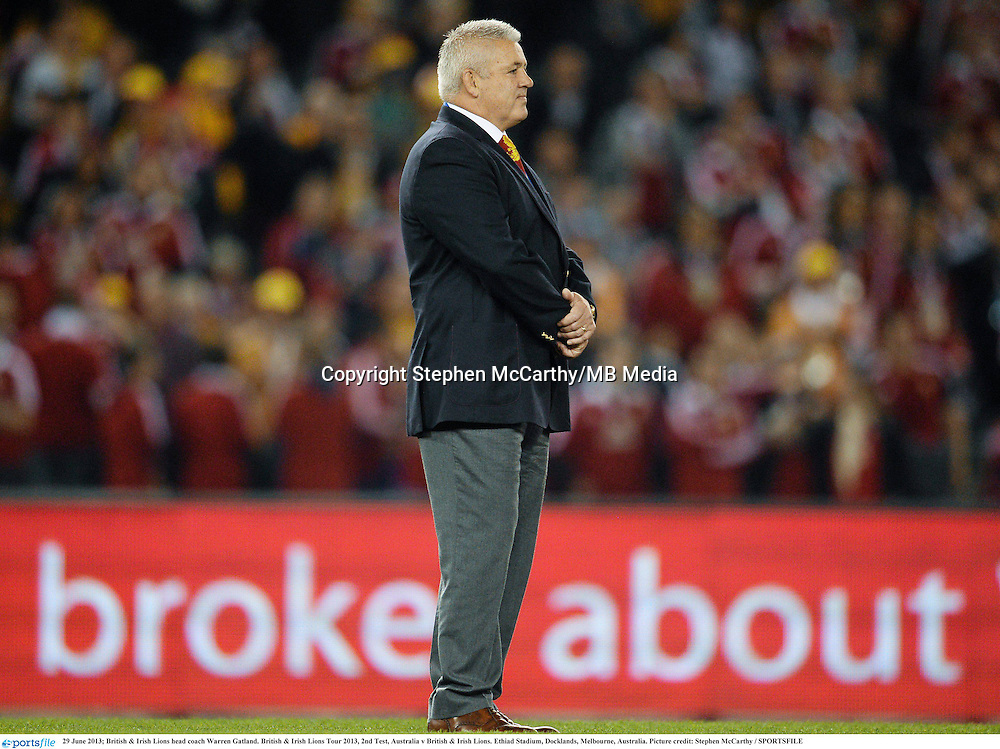 29 June 2013; British & Irish Lions head coach Warren Gatland. British & Irish Lions Tour 2013, 2nd Test, Australia v British & Irish Lions. Ethiad Stadium, Docklands, Melbourne, Australia. Picture credit: Stephen McCarthy / SPORTSFILE