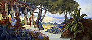 'The Bay of Algiers'.  1926. The bay viewd through luxurious foliage from a cliff-top garden with an pergola. Paul Fenasse (1899-1976) French painter. Oil on canvas. Private collection.