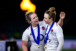 Marlie Packer of England Women and Sarah McKenna of England Women England Women celebrate winning the Women's Six Nations and Grand Slam - Mandatory by-line: Robbie Stephenson/JMP - 16/03/2019 - RUGBY - Twickenham Stadium - London, England - England Women v Scotland Women - Women's Six Nations