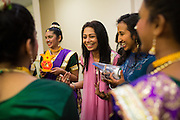 Sonal Sanghvi gives her dancers a peptalk before their performance during the ICC Youthsava 2016 Dance Competition at the India Community Center in Milpitas, California, on April 9, 2016. (Stan Olszewski/SOSKIphoto)