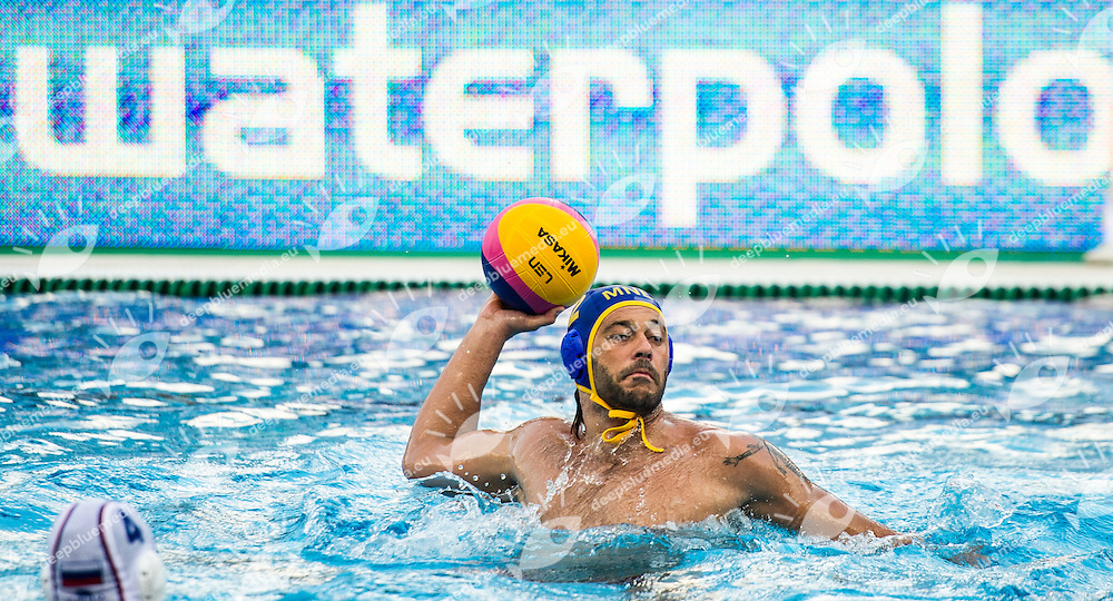 12 JOKIC Predrag MNE<br /> RUS(white) vs MNO(blue)<br /> LEN European Water Polo Championships 2014<br /> Alfred Hajos -Tamas Szechy Swimming Complex<br /> Margitsziget - Margaret Island<br /> Day02 - July 15 <br /> Photo G. Scala/Inside/Deepbluemedia