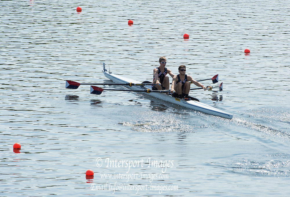 Hamburg. GERMANY. USA JM2X. Daniel HOLOD and Galen BERNICK  Friday, Morning Quarter Finals at the 2014 FISA Junior World rowing. Championships.  11:57:01  Friday  08/08/2014  [Mandatory Credit; Peter Spurrier/Intersport-images]