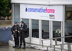 © Licensed to London News Pictures. 01/10/2017. Manchester, UK. Armed police seen on the opening day of the Conservative Party Conference. There have been conflicts within the conservative party and government over the UK's approach to Brexit, which is expected to feature heavily at this years event. Photo credit: Ben Cawthra/LNP