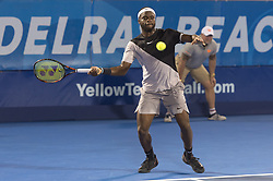 February 22, 2018 - Delray Beach, FL, United States - Delray Beach, FL - February 22: Francis Tiafoe (USA) defeats Juan Martin Del Potro (ARG) 76(6) 46 75 during their second round match the 2018 Delray Beach Open held at the Delray Beach Tennis Center in Delray Beach, Florida.   Credit: Andrew Patron/Zuma Wire (Credit Image: © Andrew Patron via ZUMA Wire)