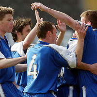 St Mirren v St Johnstone.. 22.03.03<br />St Johnstones number 7 Peter MacDonald is mobbed after scoring the second<br /><br />Pic by Graeme Hart<br />Copyright Perthshire Picture Agency<br />Tel: 01738 623350 / 07990 594431