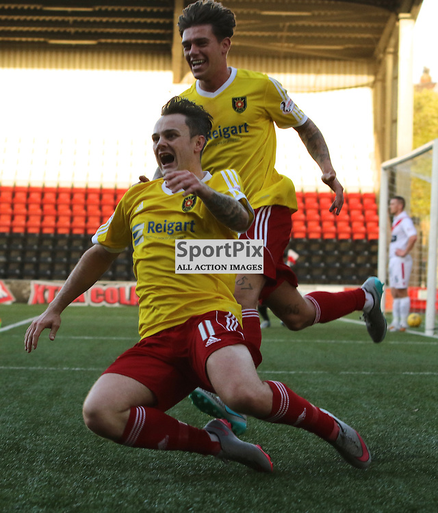 Albion Rover's Ally Love celebrates slotting home the rebound from the missed penalty during the Airdrieonians FC V Albion Rovers FC Scottish League One 31st October 2015 ©Edward Linton | SportPix.org.uk