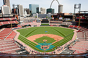 17 April 2010: Fans begin to fill Busch Stadium in St. Louis, Missouri in anticipation for the game between the St. Louis Cardinals and the New York Mets. .
