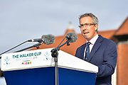 Tudor Williams (Captain of the Royal Liverpool Golf Club) gives the welcome address during the Walker Cup Opening Ceremony, Friday at the Royal Liverpool Golf Club, Friday, Sept 6, 2019, in Hoylake, United Kingdom. (Steve Flynn/Image of Sport)