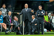 Newcastle United manager Rafael Benitez issues instructions from the side lines during the Premier League match between Newcastle United and Arsenal at St. James's Park, Newcastle, England on 15 September 2018.
