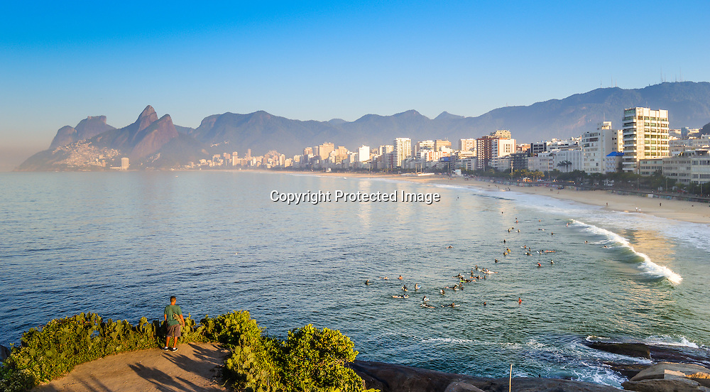 Scenic panoramic view of Ipanema Beach from Arpoador with Rio de Janeiro skyline Brazil
