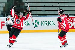 Gerhard Unterluggauer of Austria celebrates scoring a goal during ice-hockey match between Hungary and Austria at IIHF World Championship DIV. I Group A Slovenia 2012, on April 19, 2012 at SRC Stozice, Ljubljana, Slovenia. (Photo By Matic Klansek Velej / Sportida.com)