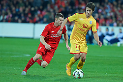 ADELAIDE, AUSTRALIA - Monday, July 20, 2015: Adelaide United's Michael Marrone in action against Liverpool during a preseason friendly match at the Adelaide Oval on day eight of the club's preseason tour. (Pic by David Rawcliffe/Propaganda)