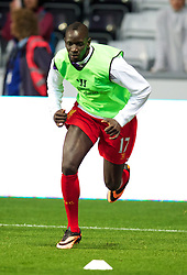 6.09.2013, Liberty Stadion, Swansea, ENG, Premier League, Swansea City vs FC Liverpool, 4. Runde, im Bild Liverpool's Mamadou Sakho warns-up during the English Premier League 4th round match between Swansea City AFC and Liverpool FC at the Liberty Stadium, Swansea, Great Britain on 2013/09/16. EXPA Pictures © 2013, PhotoCredit: EXPA/ Propagandaphoto/ David Rawcliffe<br /> <br /> ***** ATTENTION - OUT OF ENG, GBR, UK *****