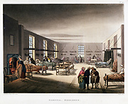 Women's ward in the Middlesex Hospital, London. From 'The Microcosm of London', Ackermann, London, 1808 -11. Illustrated by Pugin and Rowlandson. Aquatint