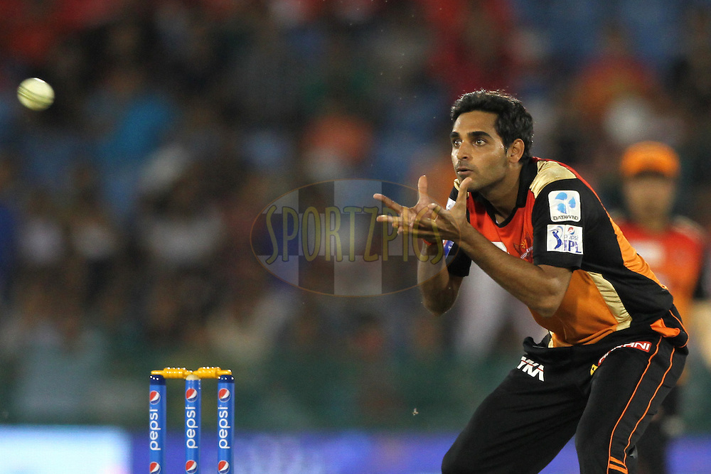 Bhuvneshwar Kumar of the Sunrisers Hyderabad in action during match 45 of the Pepsi IPL 2015 (Indian Premier League) between The Delhi Daredevils and the Sunrisers Hyderabad held at the Shaheed Veer Narayan Singh International Cricket Stadium in Raipur, India on the 9th May 2015.<br /> <br /> Photo by:  Deepak Malik / SPORTZPICS / IPL