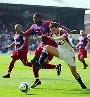 Photo:  Frances Leader, Digitalsport<br /> Crystal Palace v Middlesbrough. Barclays English Premier League.<br /> Selhurst Park.<br /> 02/04/2005<br /> Palace's Mikele Leigertwood and Middlesbrough's Stewart Downing chase the ball.