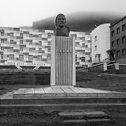 Bust of Lenin in the center of the Russian coal mining settlement of Barentsburg on the island of Spitsbergen, Svalbard, Arctic.