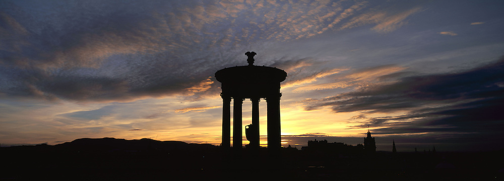 Dugald Stewart Monument in Silhouette, Edinburgh