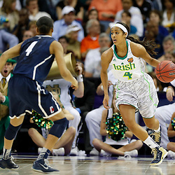 April 7, 2013; New Orleans, LA, USA; Notre Dame Fighting Irish guard Skylar Diggins (4, right) dribbles against Connecticut Huskies guard Moriah Jefferson (4, left) during the first half in the semifinals during the 2013 NCAA womens Final Four at the New Orleans Arena. Mandatory Credit: Derick E. Hingle-USA TODAY Sports