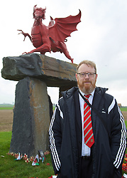 FLANDERS, BELGIUM - Monday, November 17, 2014: FAW's head of international affairs Mark Evans at the war memorial to the Welsh soldiers at Flanders Field in Belgium. (Pic by David Rawcliffe/Propaganda)