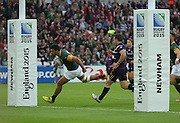 South Africa's Lodewyk De Jager scoring a try South Africa's Lodewyk De Jager scoring the first try during the Rugby World Cup Pool B match between South Africa and USA at the Queen Elizabeth II Olympic Park, London, United Kingdom on 7 October 2015. Photo by Matthew Redman.