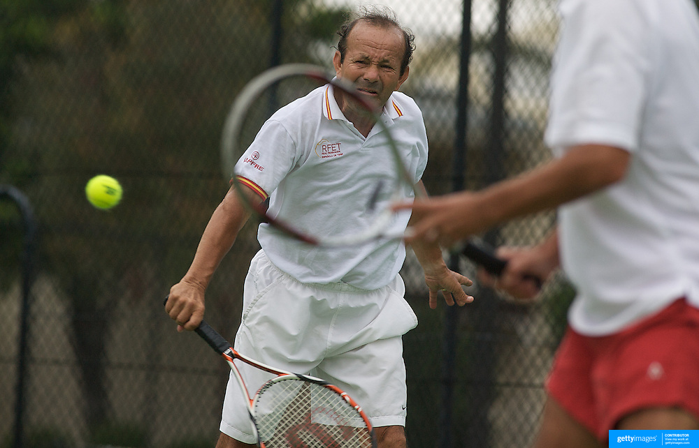 Jairo Velasco Ramirez, Spain, in action during the doubles match against France  in the Von Cramm Cup during the 2009 ITF Super-Seniors World Team and Individual Championships at Perth, Western Australia, between 2-15th November, 2009.