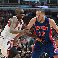 30 October 2010: Detroit Pistons Tayshaun Prince drives past Chicago Bulls Luol Deng during the Chicago Bulls 101-91 victory over the Detroit Pistons at the United Center, in Chicago, Illinois, USA.