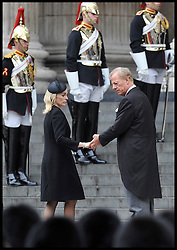 Mark Thatcher holds hands with his wife as they  attend Lady Thatcher's funeral at St Paul's Cathedral following her death last week, London, UK, Wednesday 17 April, 2013, Photo by: Andrew Parsons / i-Images