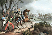 Napoleonic Wars: Battle of Albuera 16 May 1811,  Beresford defeats Soult. Sergeant of 18th Hussars (British) takes French officers prisoner.  Hand-coloured aquatint after W Heath 1817.